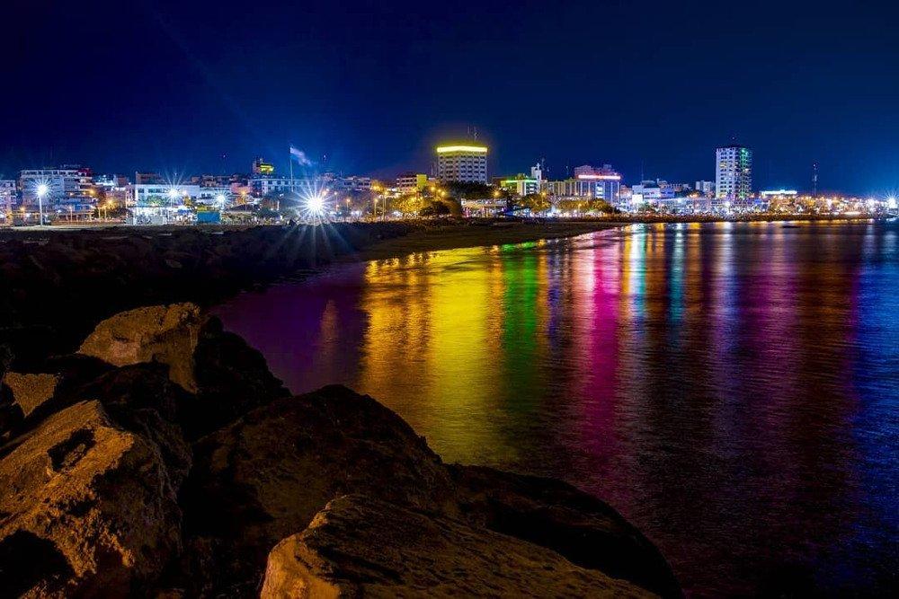 lights of Manta Ecuador at night